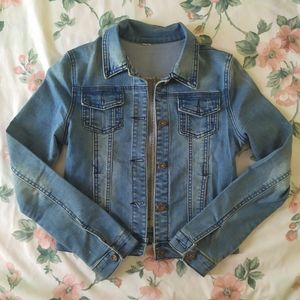 Jackets & Blazers - Stretchy Distressed Medium Blue Denim Jean Jacket
